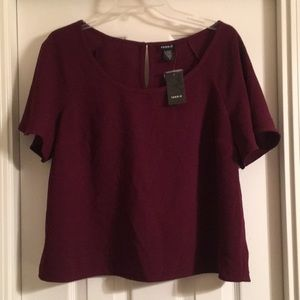 NWT Size 1 Maroon Flutter Sleeve Cropped Blouse